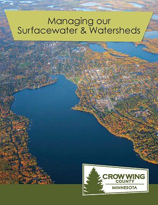 Brochure cover for managing our surfacewater and watersheds showing an aerial picture of crow wing county