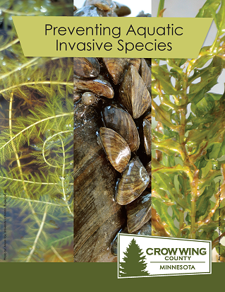 Brochure cover for preventing aquatic invasive species showing varies types of invasive species