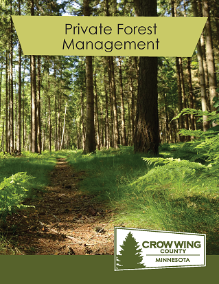 Brochure cover for private forest management showing a forest with a walking path
