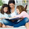 mom reading to 2 kids