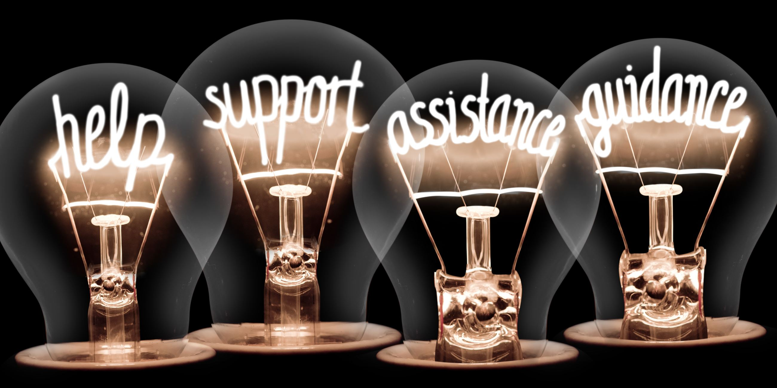 help support assistance guidance written on light bulbs