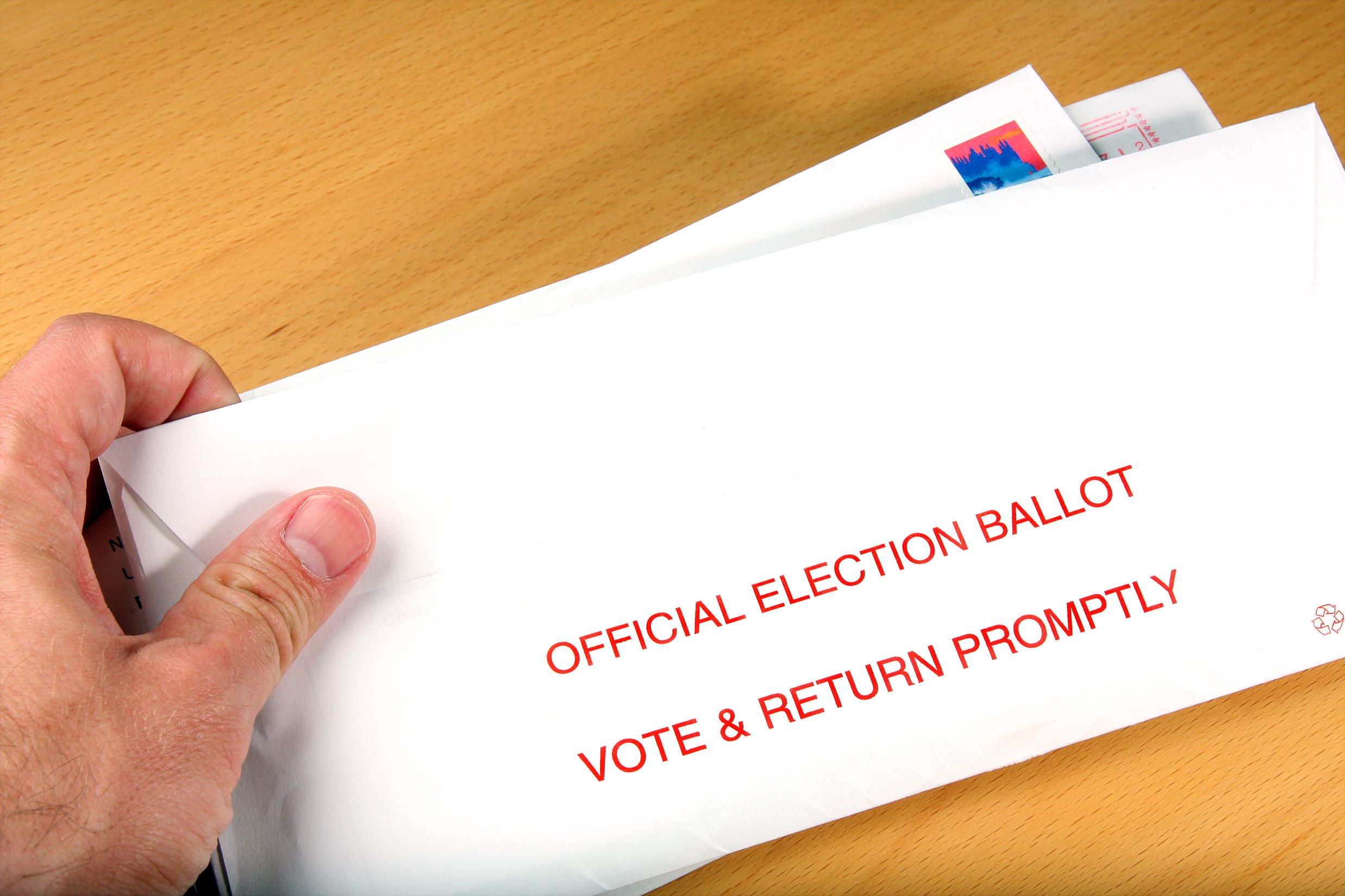 image of ballot in an envelope